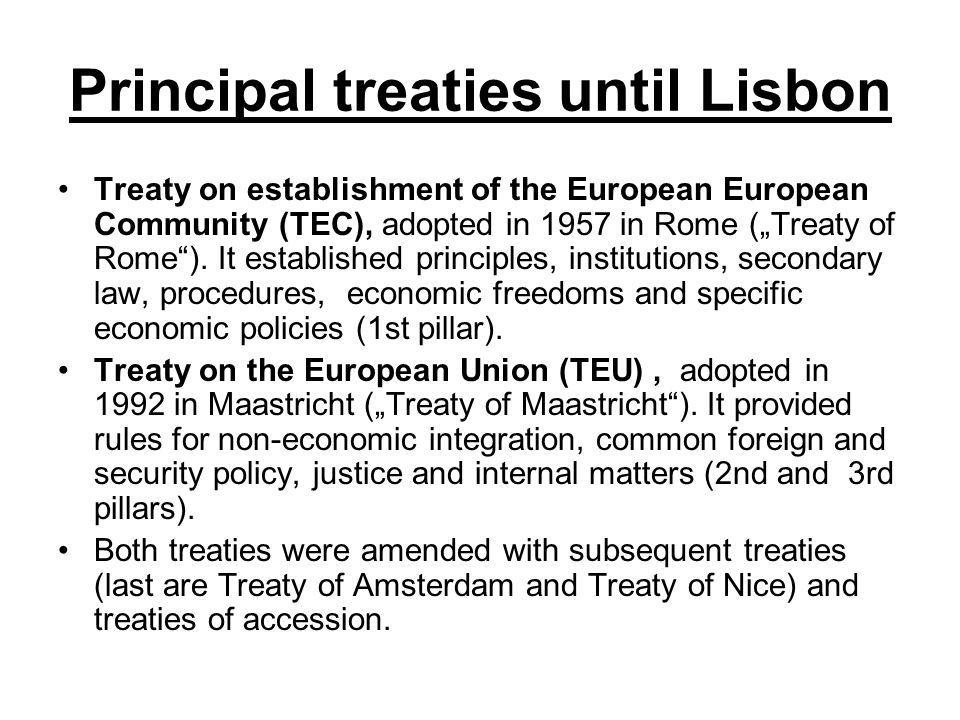 Principal treaties until Lisbon