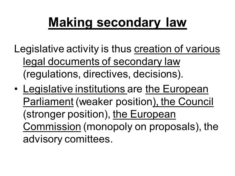 Making secondary law Legislative activity is thus creation of various legal documents of secondary law (regulations, directives, decisions).