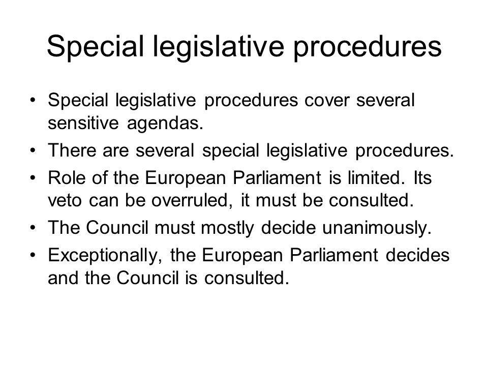 Special legislative procedures