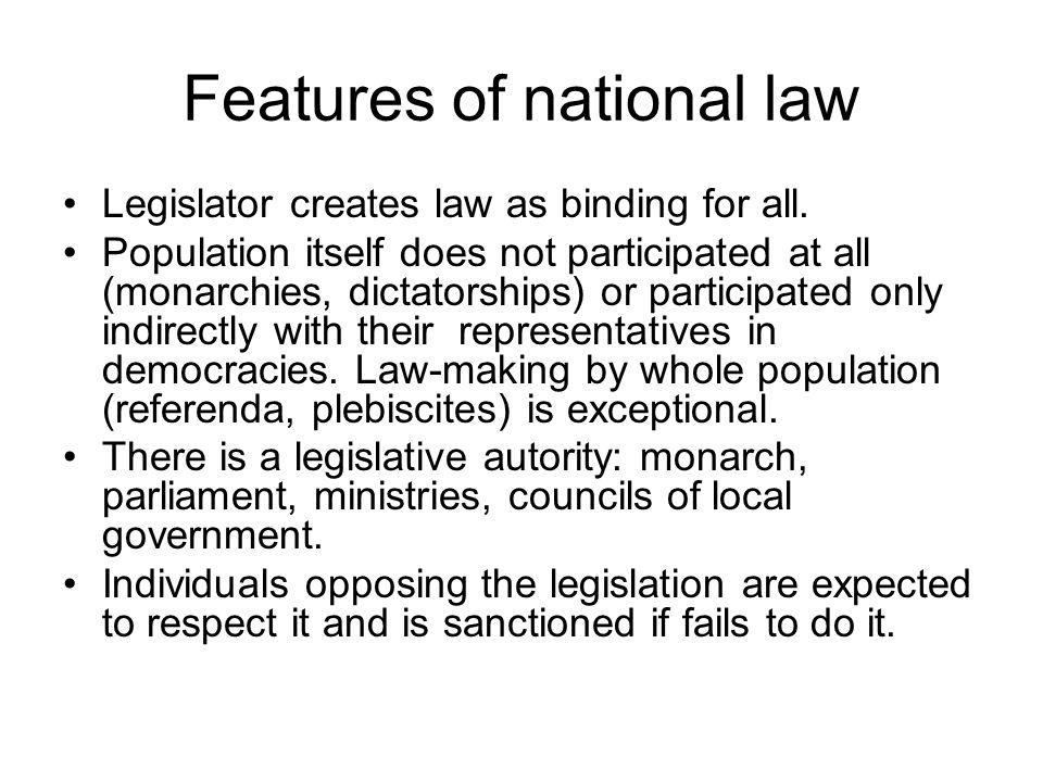 Features of national law