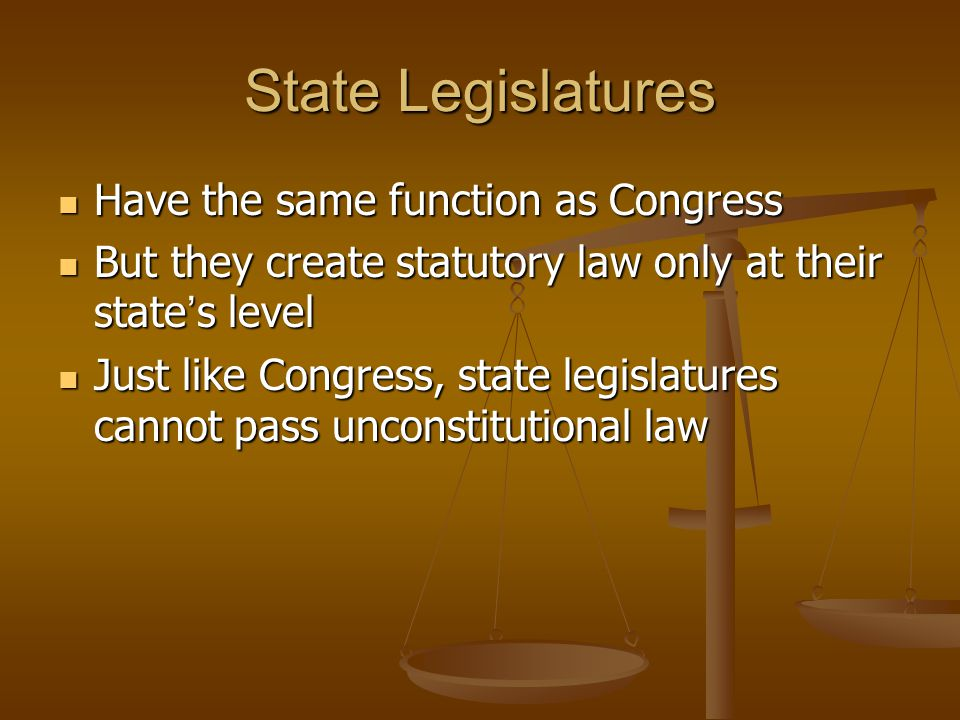 State Legislatures Have the same function as Congress