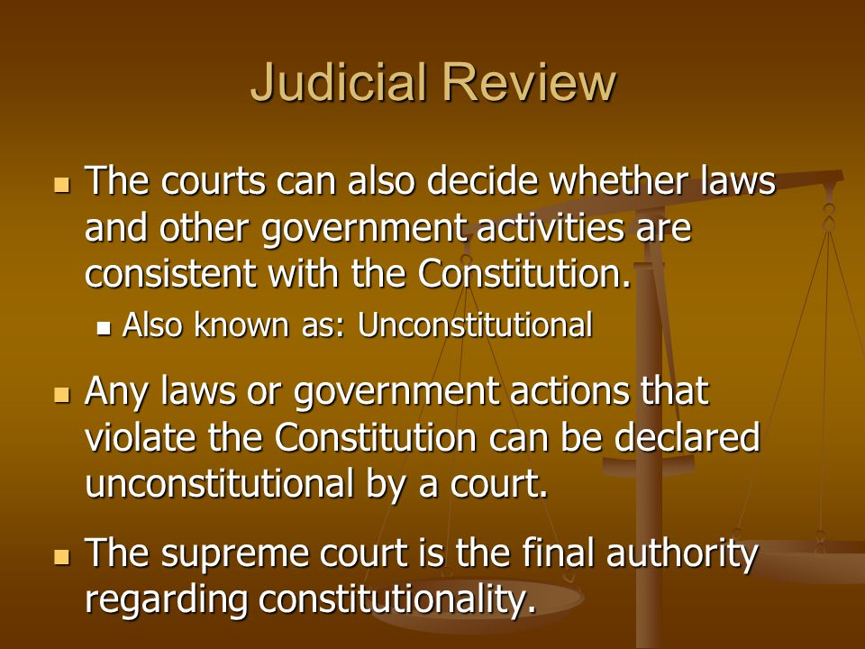 Judicial Review The courts can also decide whether laws and other government activities are consistent with the Constitution.