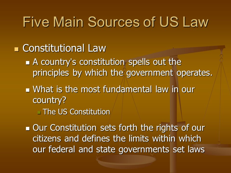 Five Main Sources of US Law