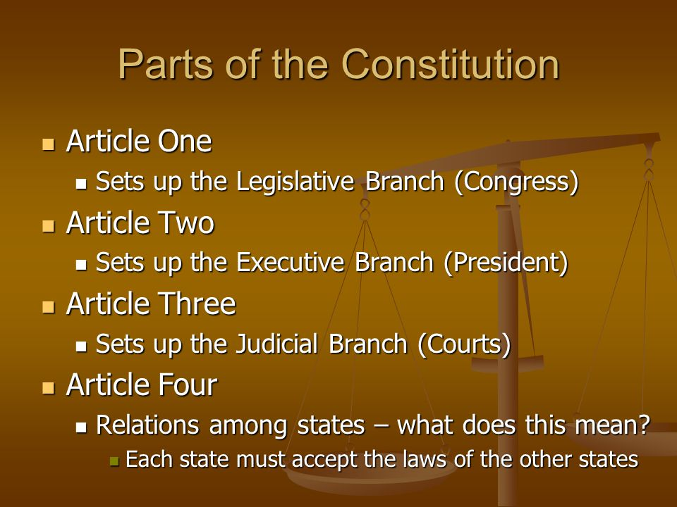 Parts of the Constitution