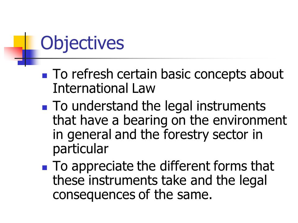Objectives To refresh certain basic concepts about International Law