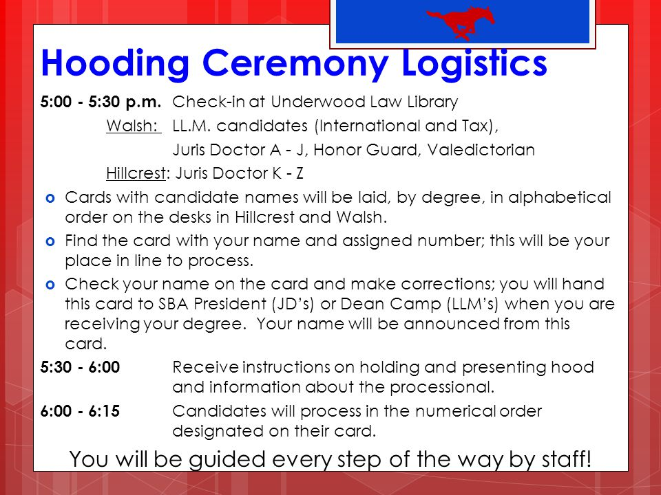 Hooding Ceremony Logistics