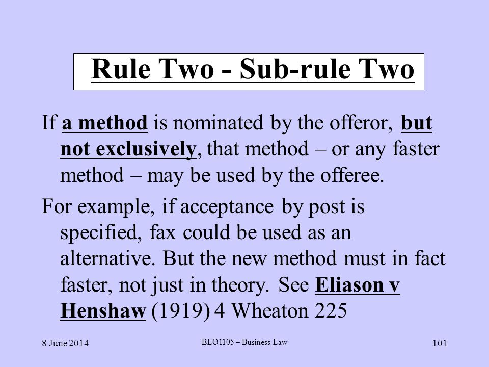 Rule Two - Sub-rule Two