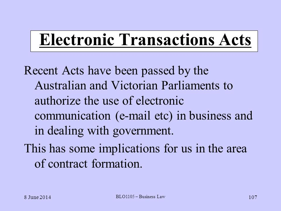 Electronic Transactions Acts