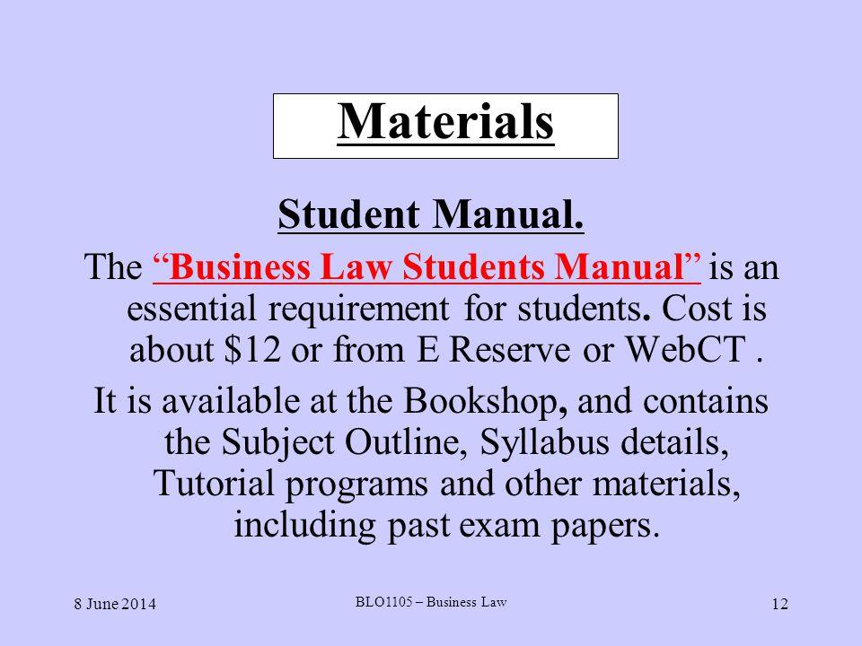 Materials Student Manual.