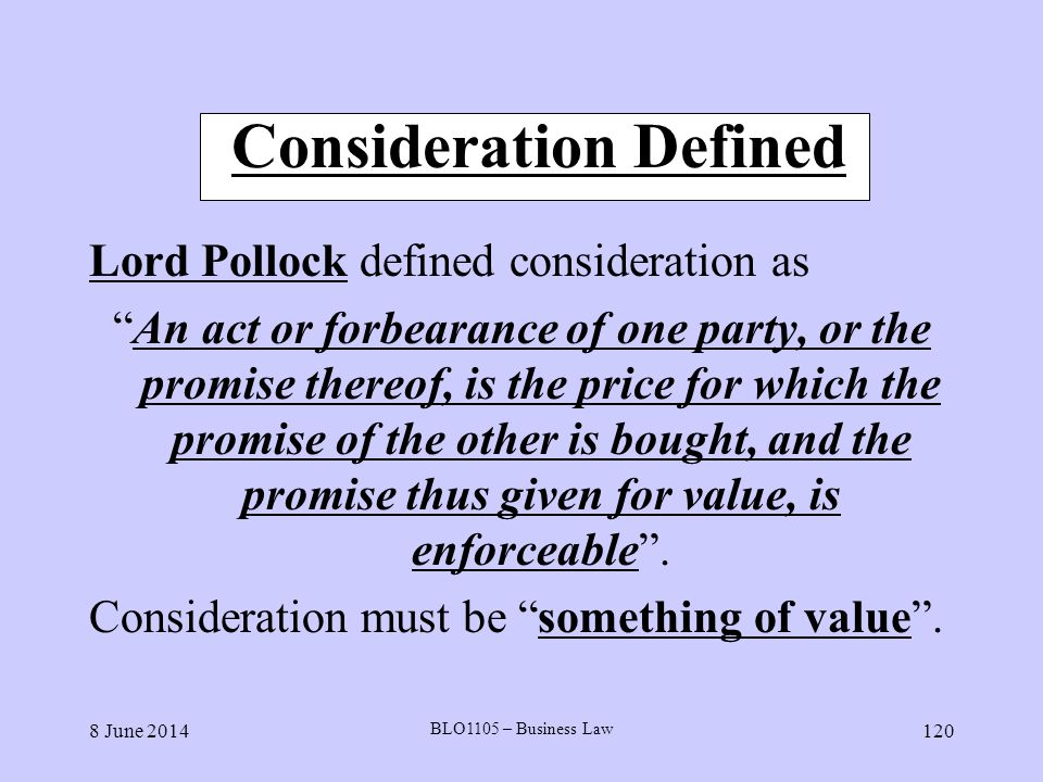 Consideration Defined