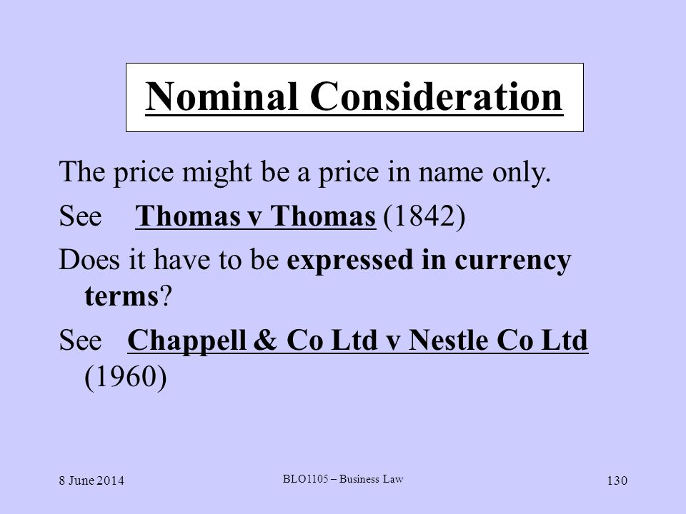 Nominal Consideration