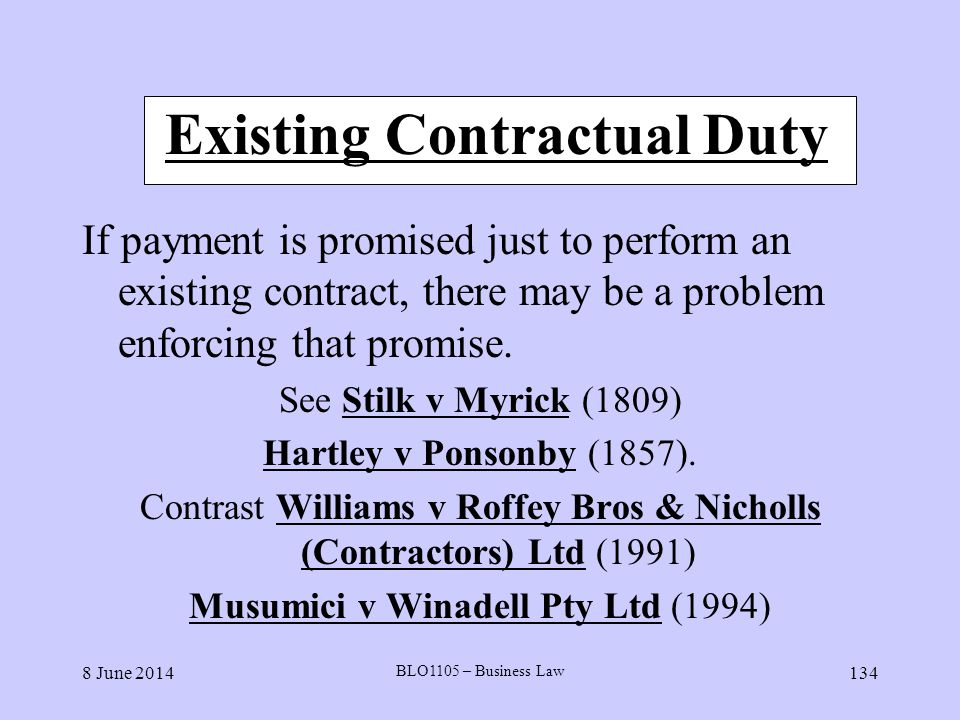 Existing Contractual Duty