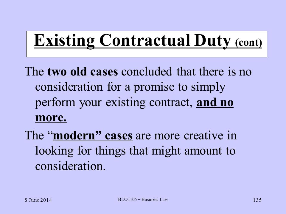 Existing Contractual Duty (cont)