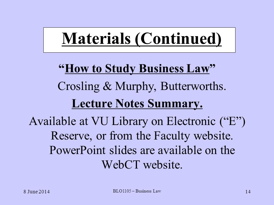 Materials (Continued)