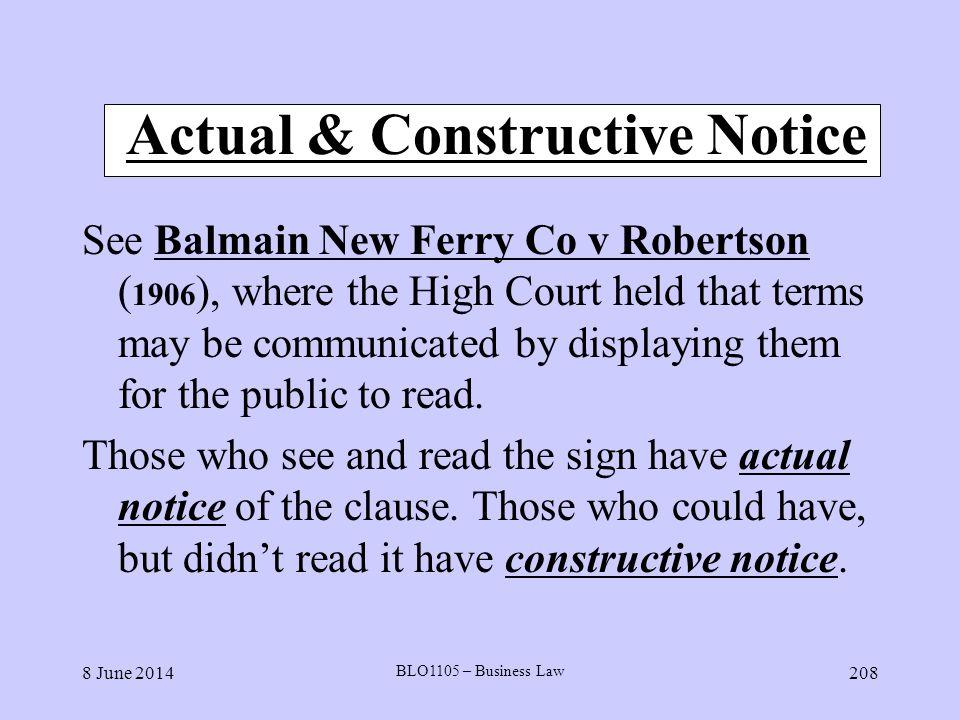 Actual & Constructive Notice