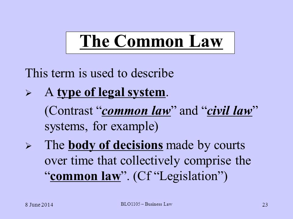 Common and civil law legal systems