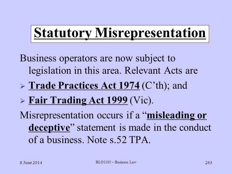 Statutory Misrepresentation