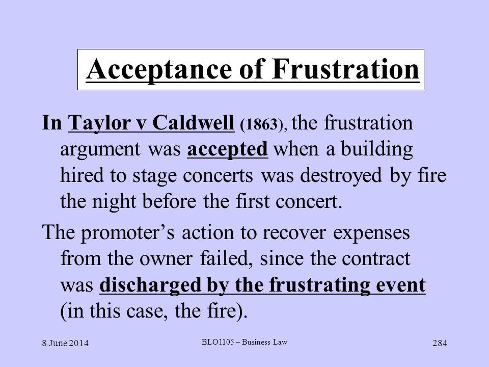 Acceptance of Frustration
