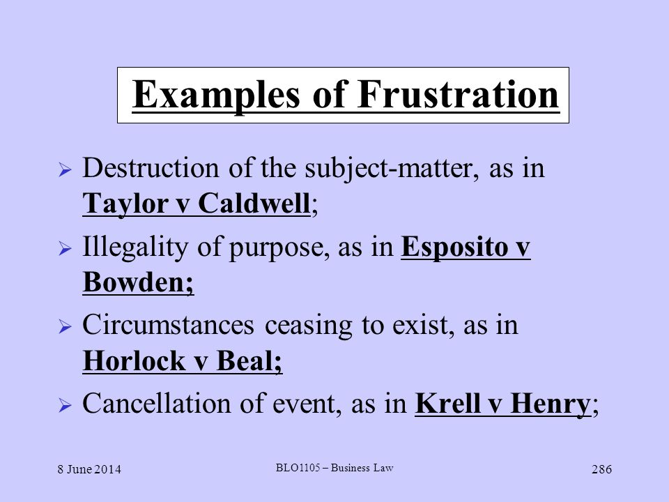 Examples of Frustration