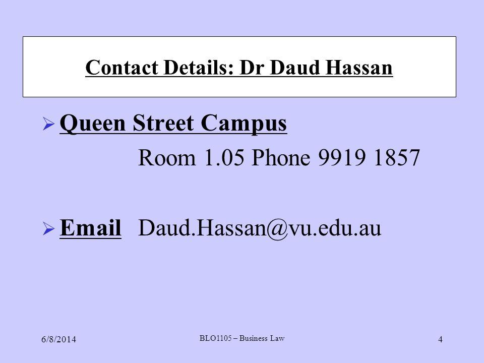 Contact Details: Dr Daud Hassan