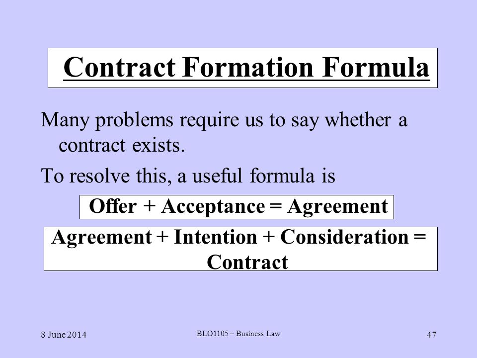 Contract Formation Formula