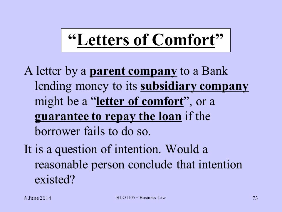 Letters of Comfort