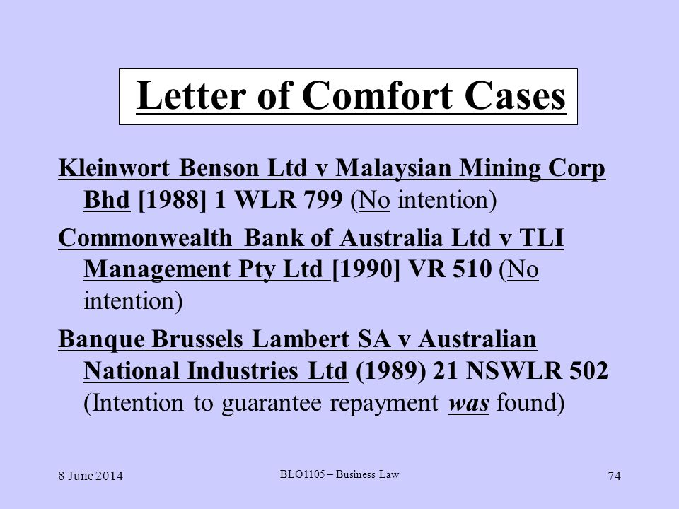 Letter of Comfort Cases