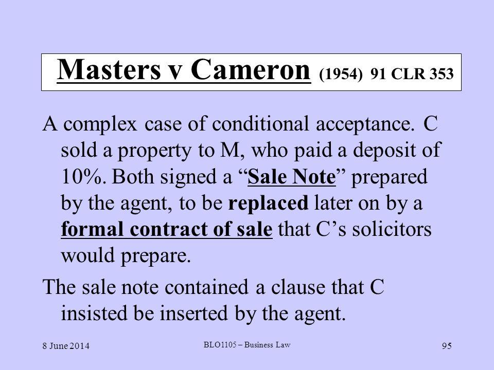 Masters v Cameron (1954) 91 CLR 353