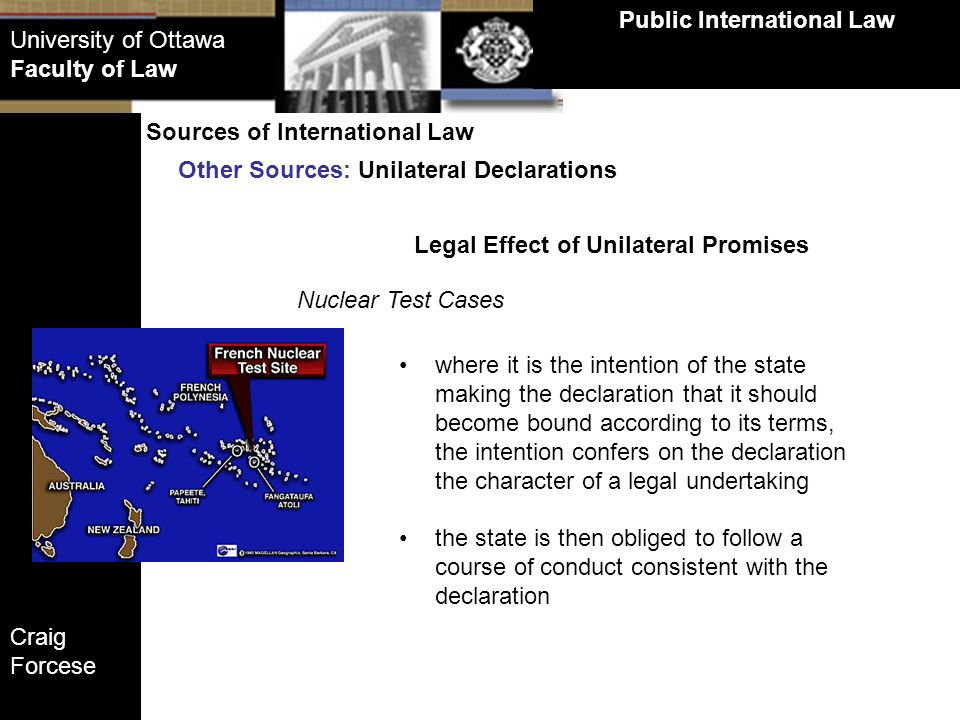 Public International Law Legal Effect of Unilateral Promises