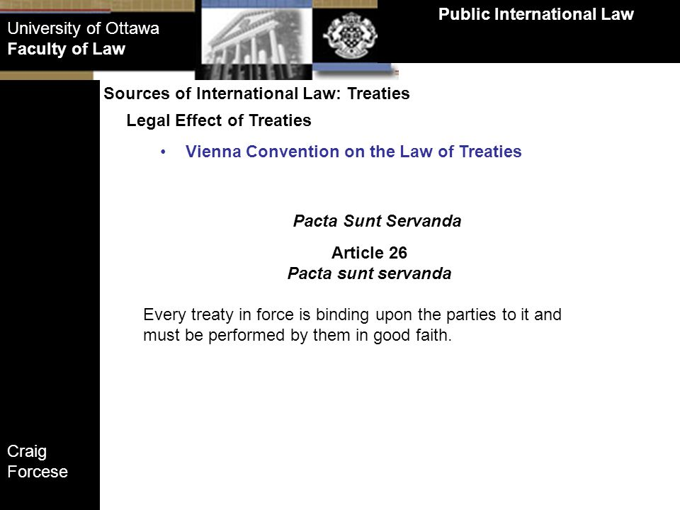 Public International Law Article 26 Pacta sunt servanda