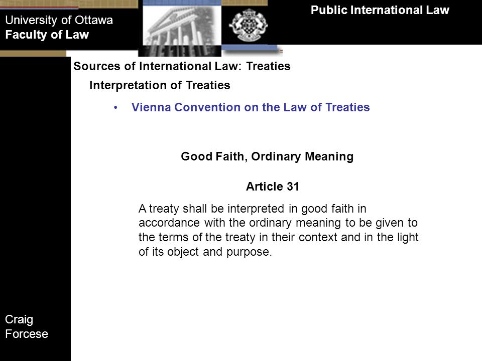 Public International Law Good Faith, Ordinary Meaning