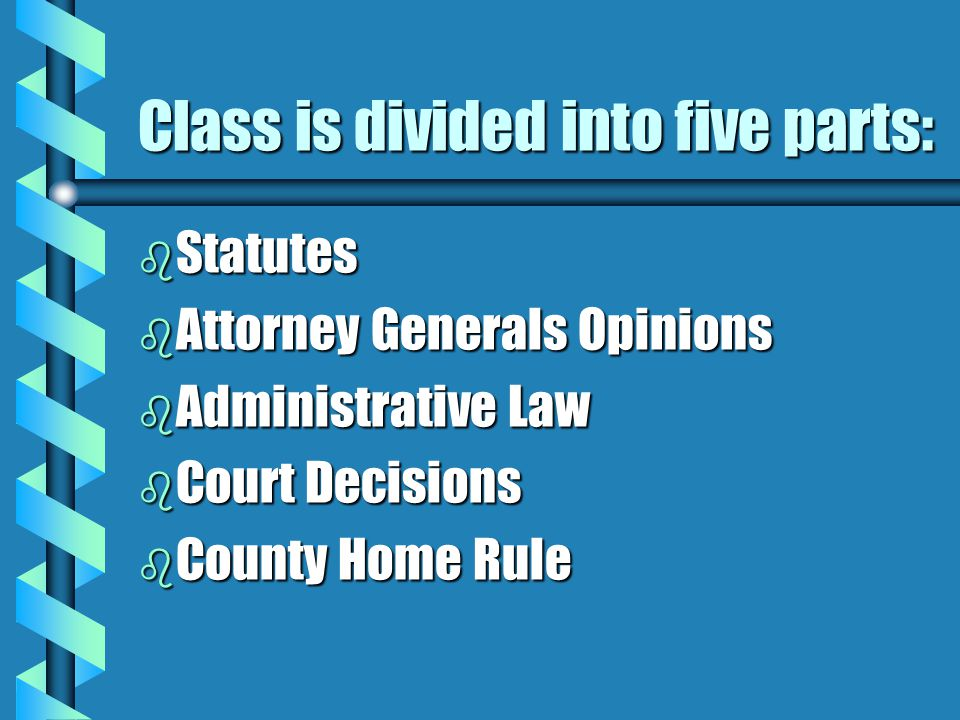 Class is divided into five parts: