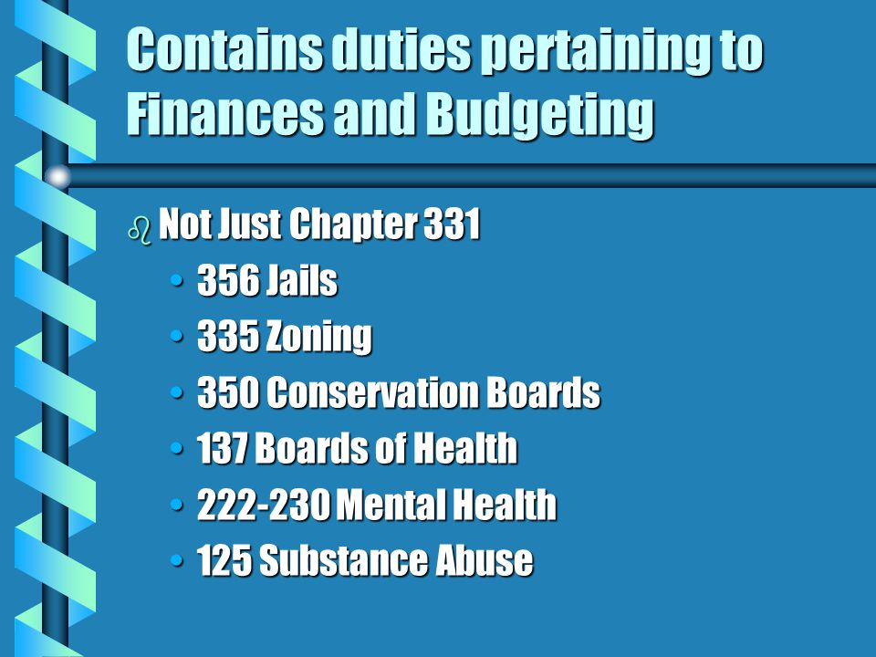 Contains duties pertaining to Finances and Budgeting