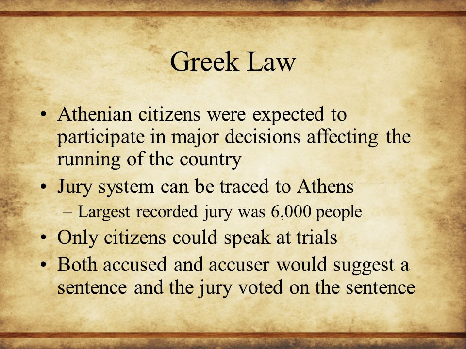 Greek Law Athenian citizens were expected to participate in major decisions affecting the running of the country.
