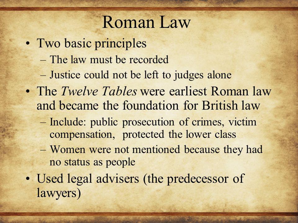 Roman Law Two basic principles