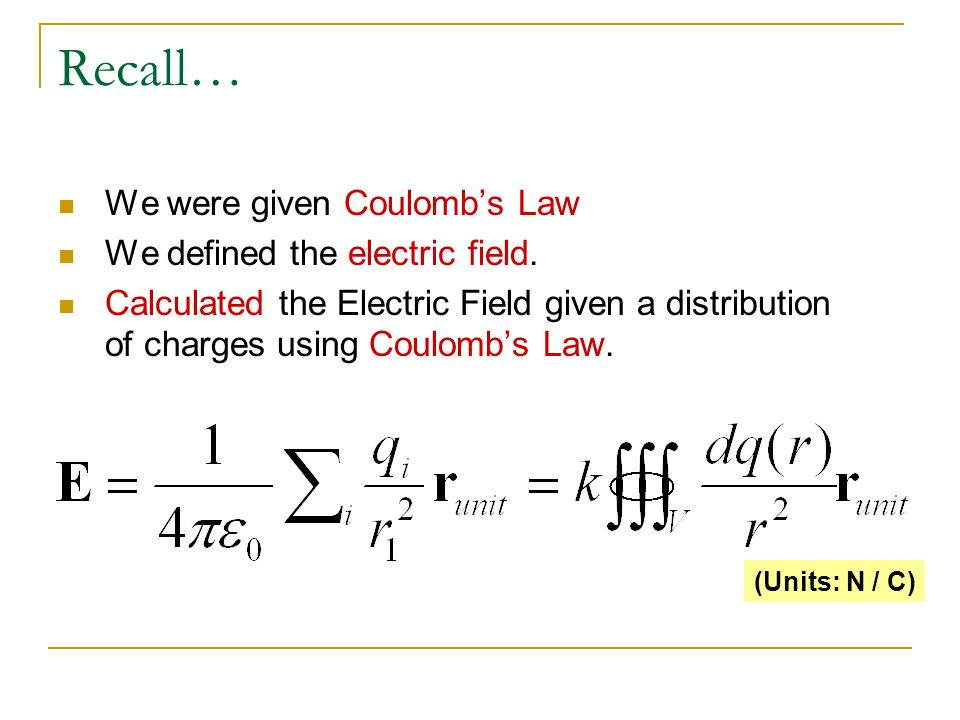 Recall… We were given Coulomb's Law We defined the electric field.