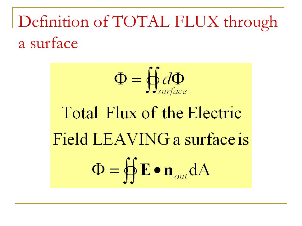 Definition of TOTAL FLUX through a surface