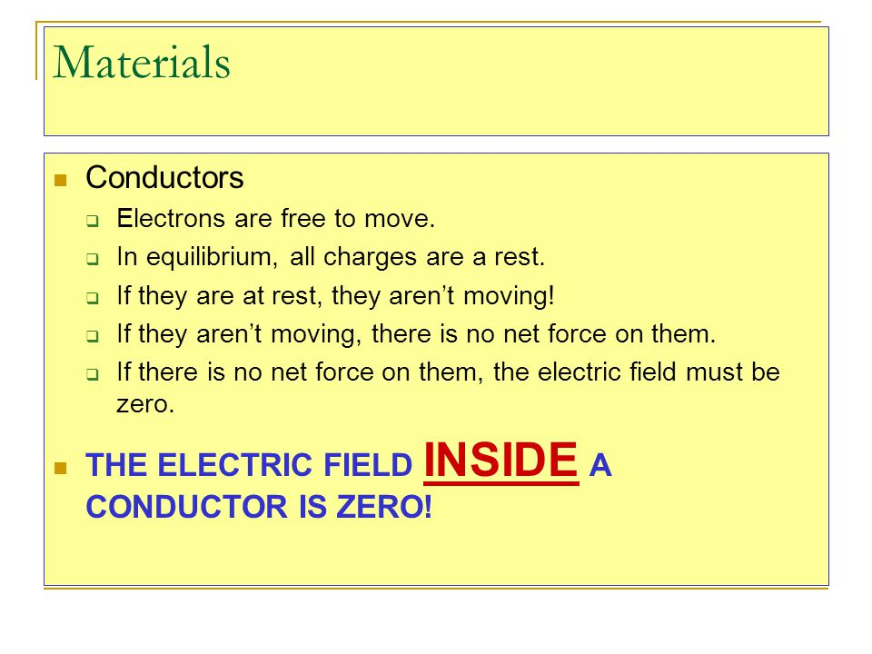 Materials Conductors THE ELECTRIC FIELD INSIDE A CONDUCTOR IS ZERO!
