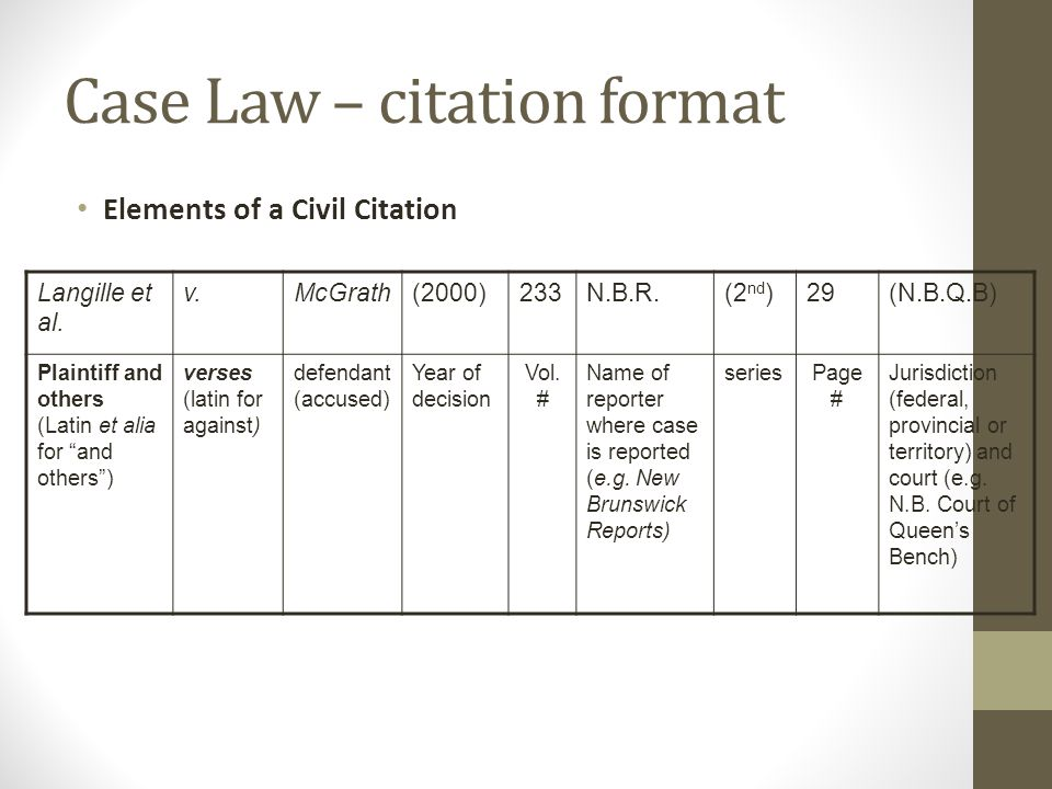 Case Law – citation format