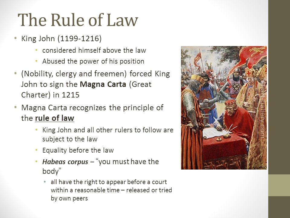 The Rule of Law King John (1199-1216)