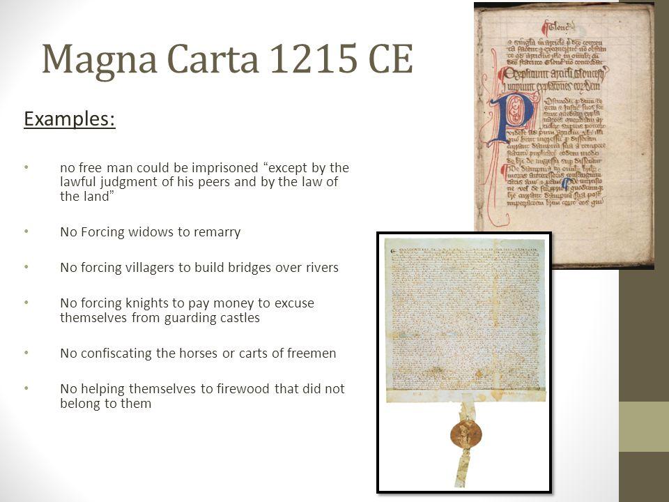 Magna Carta 1215 CE Examples: