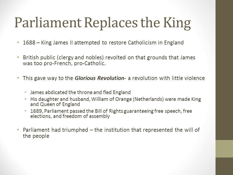 Parliament Replaces the King