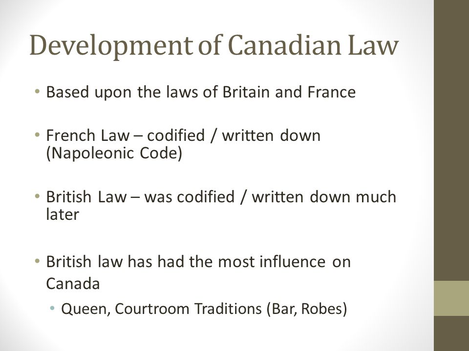 Development of Canadian Law