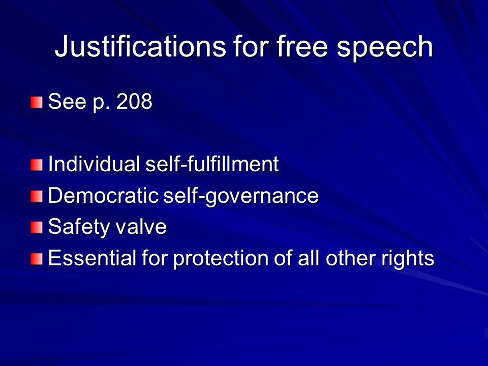 Justifications for free speech
