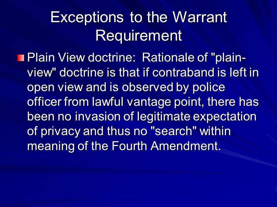Exceptions to the Warrant Requirement