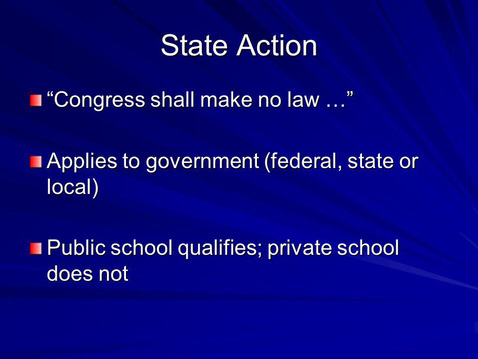 State Action Congress shall make no law …