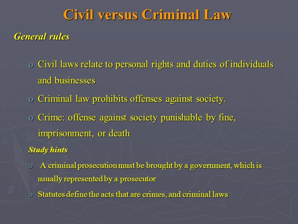 Civil versus Criminal Law