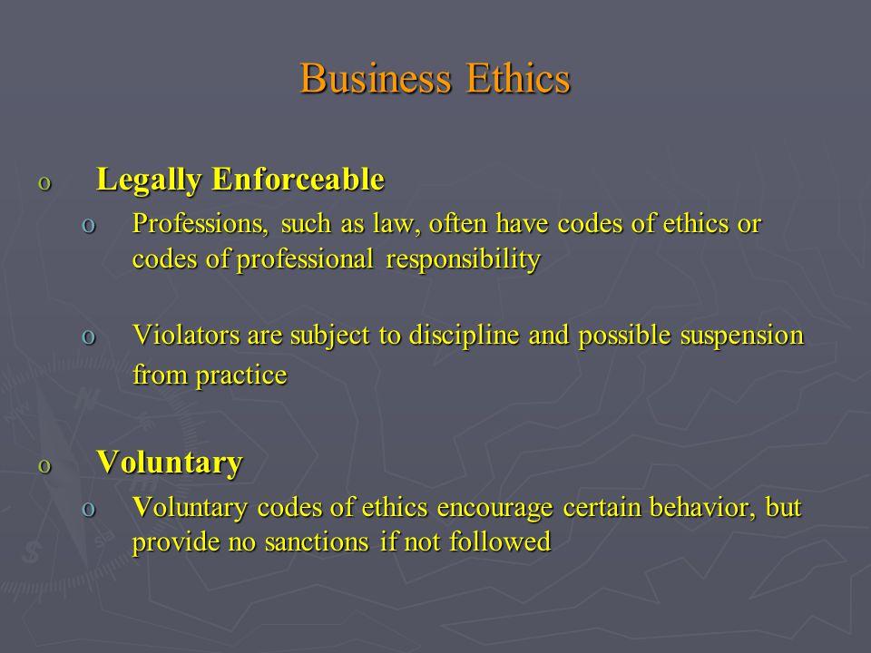 Business Ethics Legally Enforceable Voluntary