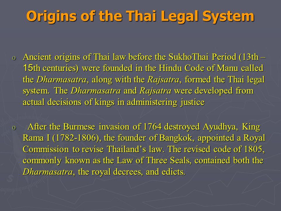 Origins of the Thai Legal System