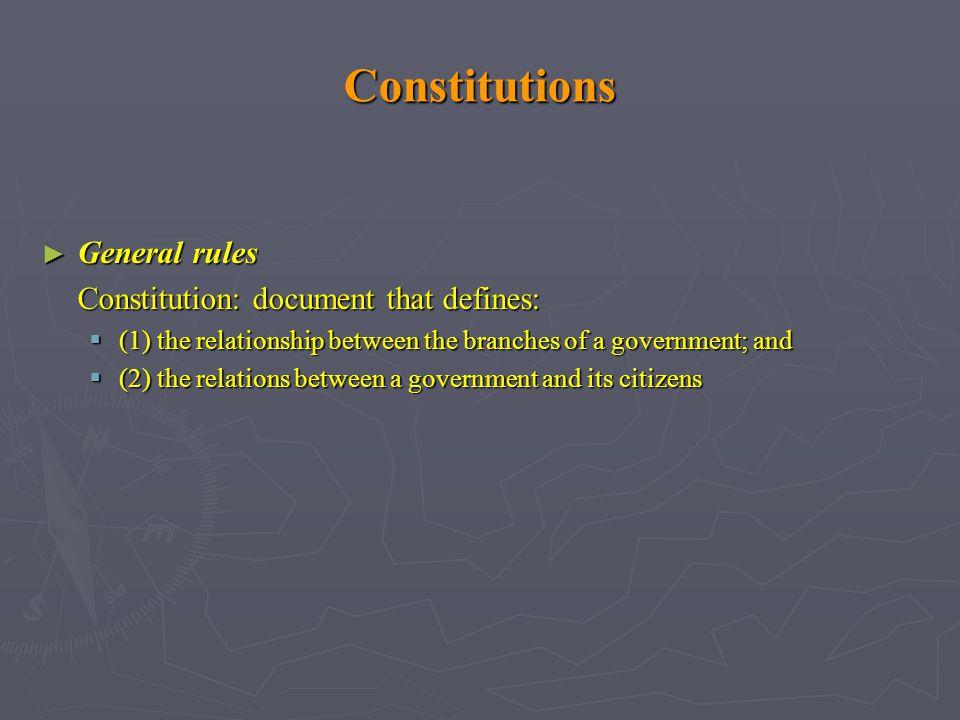 Constitutions General rules Constitution: document that defines: